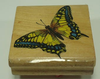 Butterfly Wood Mounted Rubber Stamp Insect