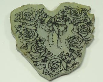 Flexible Heart With Roses And Ribbon Foam Mounted Stamp