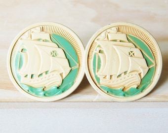 Vintage 1930s Pair of Curtain Tacks Metal Pirate Ships Green and Cream Drapery Pins