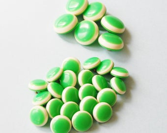 1960s Unusual Buttons Lime Green and White Vintage Plastic Lot of 28 Two Tone