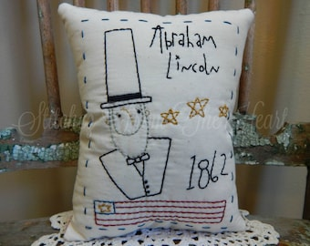 Americana - Abraham Lincoln - Patriotic - Red White Blue - American Flag - Throw Pillow - Decorative Pillow