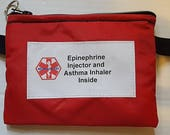 Epi Pen ® or Auvi-Q ®  Plus asthma medications pouch waist pack epipen carrier insulated zippered bag with medical alert label