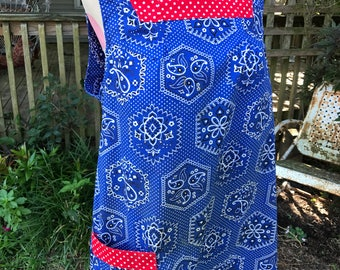 Vintage Blue and White Bandana Print with Red and White Polka Dot Trim Ladies' Smock Apron