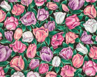 6 Yards of Vintage VIP Cranston Print Works Pink, White & Purple Floral Print Cotton Fabric