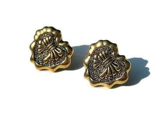 Gold Heart Earrings, Antiqued Studs, Vintage Inspired Romantic Jewelry