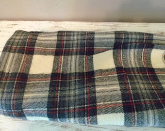 Large piece of black, cream / beige, and red plaid wool fabric for rug hooking, penny rugs, quilting, appliqué , set # 32