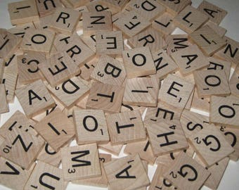 Vintage Wooden Scrabble Tiles or Game Pieces Set of 100