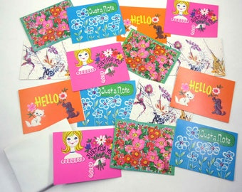 Vintage Retro Blank Note Cards with Envelopes Set of 15