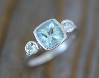 Blue Aquamarine Anniversary Ring, Aquamarine and White Sapphire Cushion Gemstone Birthstone Ring in Sterling Silver, Ready TO Ship Size 6