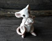 Little precious porcelain ceramic Mom and baby Mouse