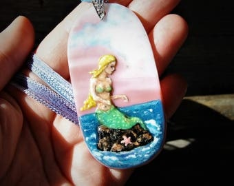 Beautiful Mermaid on the rock  - fused glass pendant - mermaid nekclace - boho gypsy jewelry