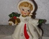 NAPCO Christmas Figurine, 1950's Napco  Christmas Girl Figurine,  X-Mas Holiday  Made in Japan, Holding Gold Christmas Bell