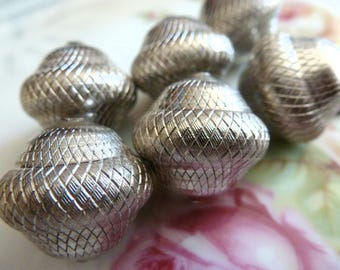 3 Vintage Large Etched Base Metal Silver Beads, Jewelry Findings, 19 (hole to hole) x 20mm, 3 pcs (C40)