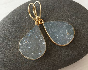 Blue Gray Druzy Teardrop Earrings,Gold Druzy Earrings,organic earrings,gifts for her, gifts under 100,teardrop druzy earrings,silver gray