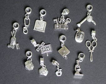occupation charms, Snake bracelet & European bracelet charms, 5mm hole dangle charms, pandora style charms, interchangeable