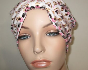 Aztec Print Turban, Chemo Hat, Snood, Womens Hat