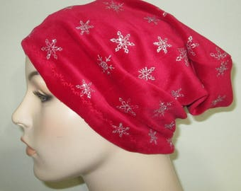 Chemo Slouchy Red Silver Hat Sleep Cap, Cancer Hat, Alopecia