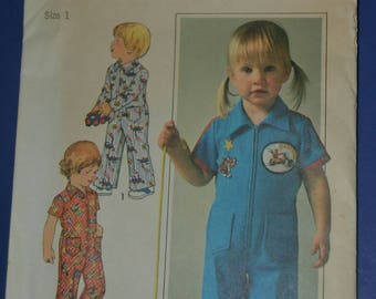 Vintage 70s Sewing Pattern Simplicity 7630 Toddler Jumpsuit