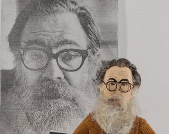 John Berryman American Poet Literary Art Miniature Doll Gift for Poetry Lover