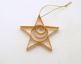 Vintage Christmas Tree Ornament Star Shaved Wood Germany