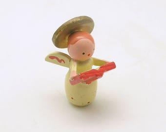Vintage Christmas Decoration Wood Angel Figurine