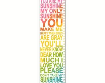 You Are My Sunshine, You Are My Sunshine Wall Art, Growth Chart,  Girl Room Decor, You Are My Sunshine Rainbow Chart
