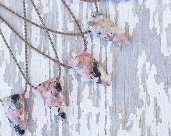 pink mosaic jasper pyramid briolette / handspun ROPE necklace / waterproof / kid-proof / life-proof / bohemian / minimalist  / tula blue