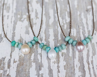 amazonite + teardrop freshwater pearl / handspun rope necklace / waterproof / kid-proof / life-proof / bohemian / gypsy / tula blue