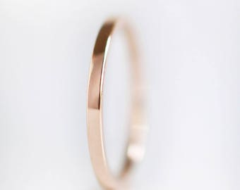 1.5mm Rose Gold Wedding Band | 10k 14k 18k Rose Gold Ring | recycled gold | thin flat edge wedding band | Shiny or Matte Brushed Finish