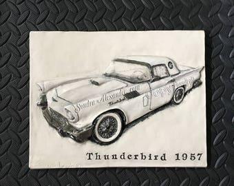 1957 Thunderbird Classic Car CERAMIC tile sculpture 3D Art Tile Plaque Functional ART by Sondra Alexander Made to Order