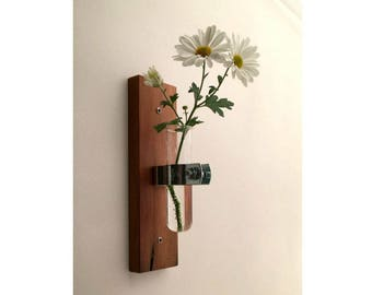 Test Tube Vase, Modern, Recycled Wood