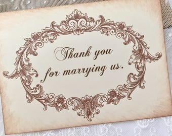 Thank you for marrying us card, Wedding card for pastor or wedding officient