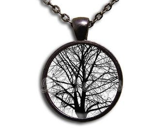 25% OFF - Tree Winter Nature - Round Glass Dome Pendant or with Necklace by IMCreations - NT113