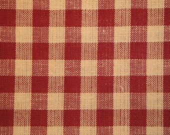 Cotton Homespun Fabric Large Wine Check 30 x 44