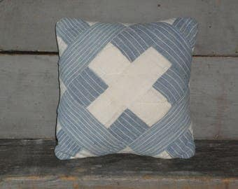 SMALL Old Blue Quilt Pillow | Vintage Quilt Pillow | Antique Quilt Pillow | Primitive Pillow | Cupboard Tuck | Shelf Sitter