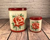 Red Rose Tin Canisters - Set of Two -  Red and Green - Litho - Kitchen