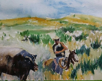 Original Western Landscape  Watercolor Cowboy Roundup Specialty Collectable Gift Painting by Yvonne Ham