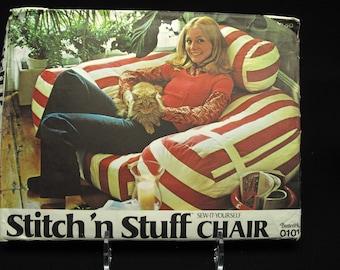 Vintage Retro Stuffed Chair Pattern Uncut Butterick  Stitch N Stuff Sew It Yourself Chair 1970 Boho Hippie Disco Hipster Rockabilly Decor