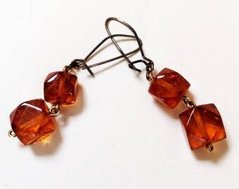Amber Faceted Bead Pierced Earrings Vintage
