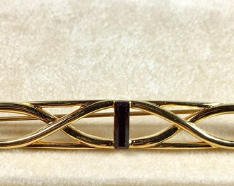 Monet Vintage Gold Tone Collar Bar Pin with Red Faceted Center Stone