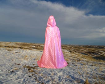 Pink Cloak Hooded Cape Satin Renaissance Medieval Camelot Prom Wedding Halloween Costume
