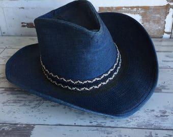 Vintage Resistol Cowboy Hat 7 1/4 Blue Denim Self Conforming