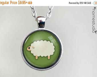 ON SALE - Sheep : Glass Dome Necklace, Pendant or Keychain Key Ring. Gift Present metal round art photo jewelry by HomeStudio