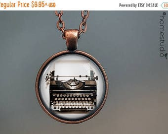 ON SALE - Typewriter : Glass Dome Necklace, Pendant or Keychain Key Ring. Gift Present metal round art photo jewelry by HomeStudio