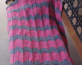 Hand knitted baby blanket/bright pink and gray baby blanket/zig zag baby blanket/chevron baby blanket/baby girl gift/nursing blanket/shower