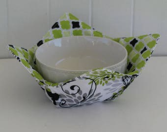 Microwave Fabric Bowl, Fabric Food Warming Bowl,  Ice Cream Bowl, Hostess Gift, Kitchen Gift, Butterflies, Quatrefoil, Lime, Black, Green
