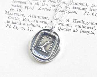 armoured arm holding a sword wax seal necklace - qualis ab incepto - the same as from the beginning - Majendie crest wax seal jewelry