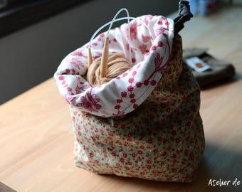 Project bag Knitting bag drawstring bag crochet bag