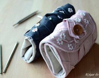 DPN knitting needle case Charcoal Grey gray pink gift for her gift for grandma gift for knitter sock knitter mitten knitter