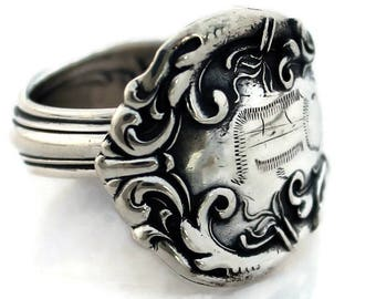 Spoon Ring Sterling Silver Irving by Wallace 1899 Monogram D Size 5-10